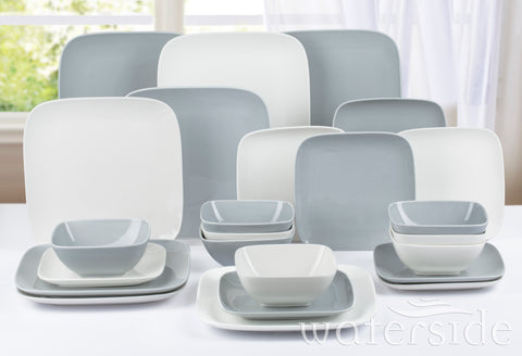 24pc Hampton Square Dinner Set Wht/Grey