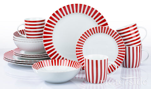 16pc Red Stripe Dinner Set