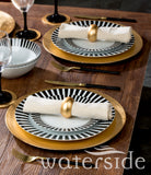 16pc Black Stripe Dinner Set
