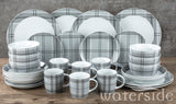 30pc Grey Tartan Dinner Set