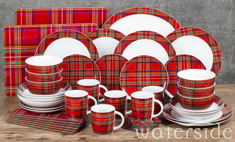 45pc Traditional Red Tartan Dinner Set