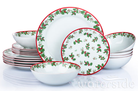 18pc Holly Dinner Set