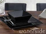 12Pc Soho Black Square Dinner Set