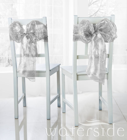 6pc Chair Bows -SILVER