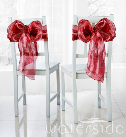 6pc Chair Bows -RED