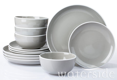 12pc Halo Dinner Set  Grey