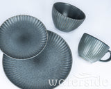 16pc Textured Reactive Glaze Grey