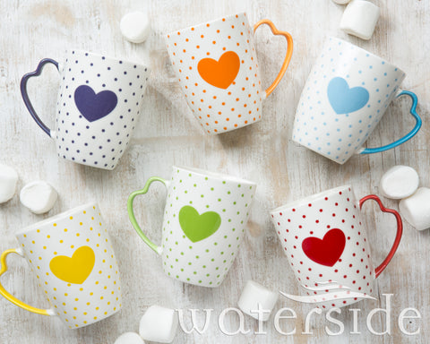 Set of 6 Heart mugs with Heart handle 6 colors