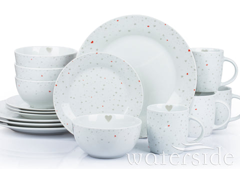 16pc Grey & Red Heart Dinner Set