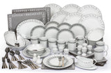 Waterside 100 Piece Grey Script Dinner Set