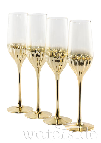 Set of 4 Glam Flute Glasses - Gold