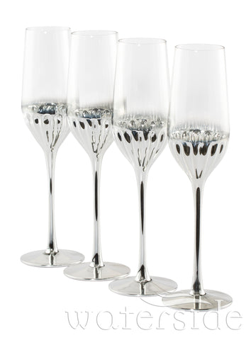 Set of 4 Glam Flute Glasses - Platinum