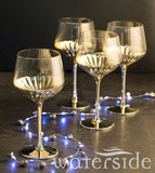 Set of 4 Glam Wine Glasses  - Gold