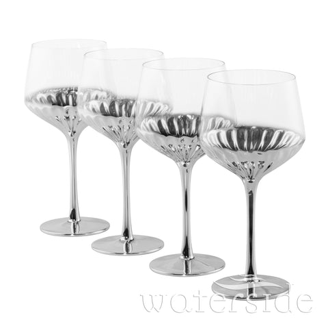 Set of 4 Glam Wine Glasses - Platinum