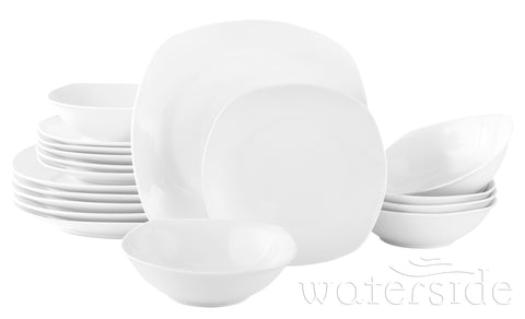 18pc White Everyday Square Dinner Set