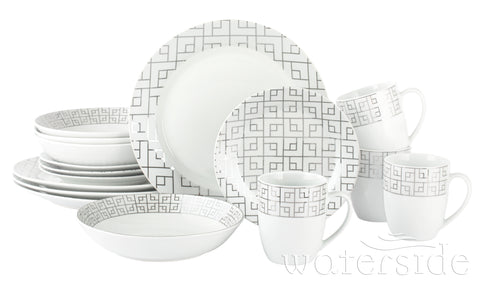 16pc Platinum Glitz Dinner Set