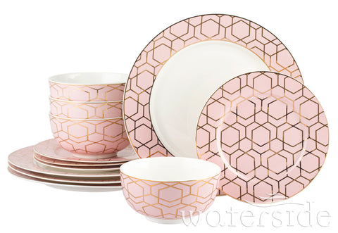 12pc Tallulah Pink & Gold Dinner Set