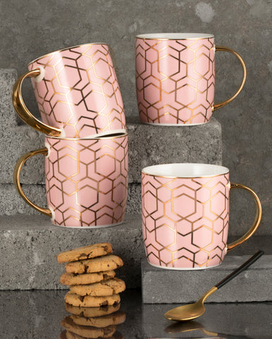 4pc Tallulah Pink & Gold Mug Set
