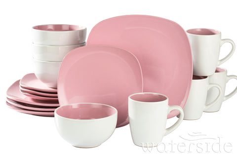 16pc Nova Square Dinner Set Pink