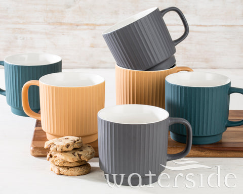 6pc Sanctuary Textured Mugs