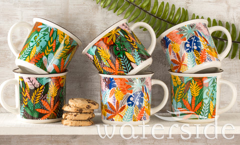 6pc Carnival Leaves Mug Set