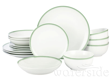 16pc St Ives Stripe Dinner Set - Green