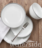 16pc St Ives Stripe Dinner Set - Grey