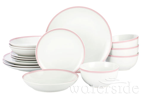 16pc St Ives Stripe Dinner Set - Pink