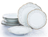 12pc Dotty Flower Shape Dinner Set