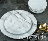 12pc Marble & Gold Dinner Set