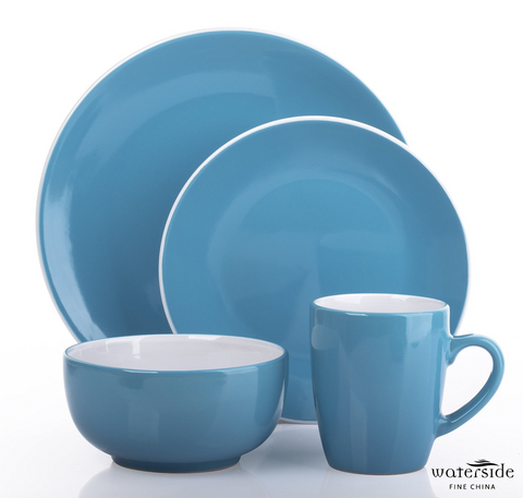 16 Piece 2 Tone Teal Blue & White Dinner Set