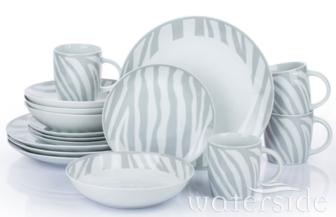 16pc Grey Tribal Print Dinner Set
