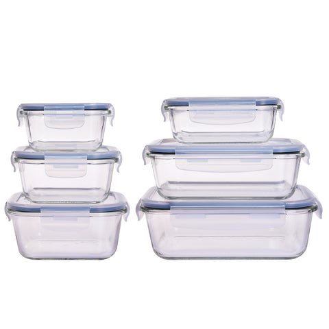 6 Piece Glass Food Containers