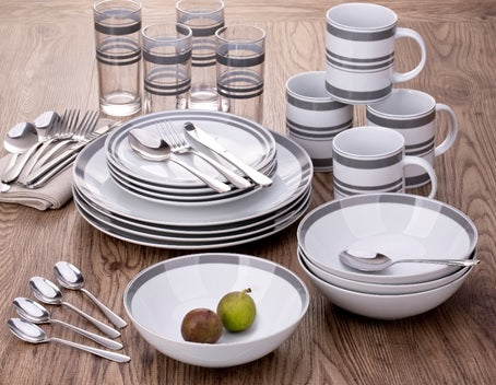 36pc Bistro Stripe Combo Set