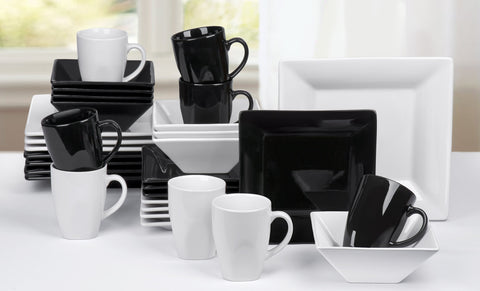 32 Piece Boston Black/White Sharp Square Dinner Set