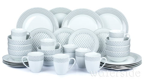 32pc Grey & White Raindrop Print Dinner Set