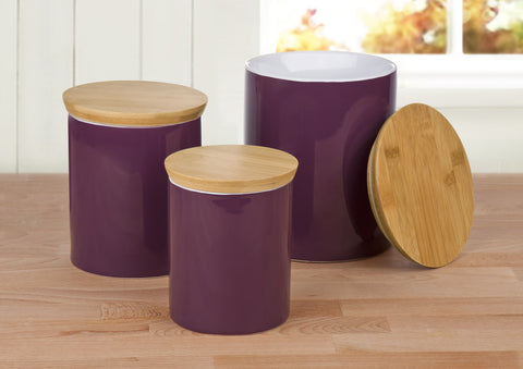 Set of 3 Aubergine Storage Canisters - CLEARANCE END OF LINE