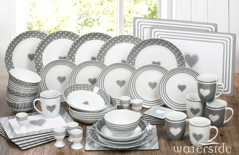 56PC Grey Heart Dinner set - no cutlery