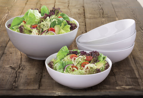 5 Piece White Porcelain Pasta/Salad Bowl Set