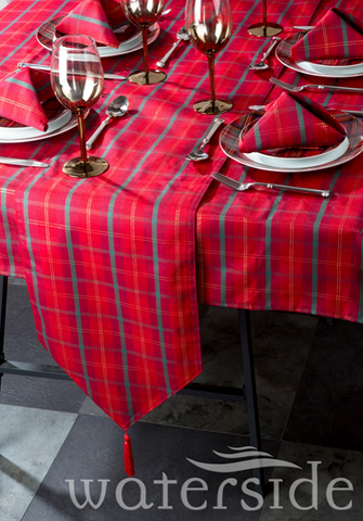 10pc Tartan Jacquard Table Linen Set