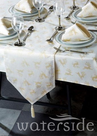 10pc Gold Reindeer Table Linen Set  (6-8 persons)