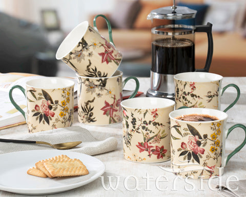Set of 6 Botanical Garden Mugs