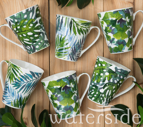 Set of 6 Leaf Mugs