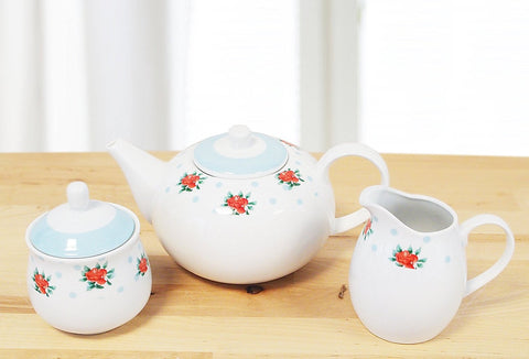 3 Piece Vintage Rose Pastel Blue Tea set