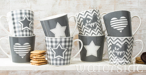 Set of 8 Grey Star & Heart Mugs