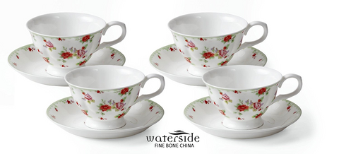 Set of 4 Red Rose Bone China Cups and Saucers