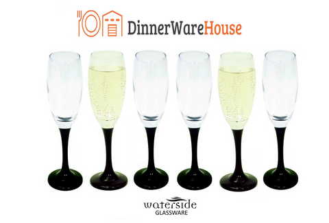 Set of 6 Champagne Flute Black Stemmed Glasses