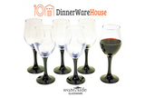 Set of 6 Wine Black Stemmed Glasses