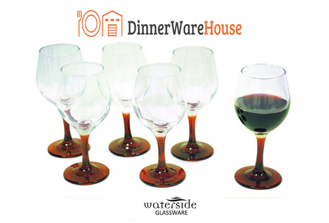 Set of 6 Wine Red Stemmed Glasses