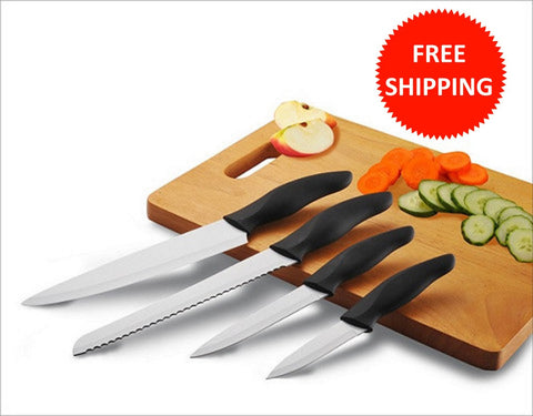 4 Piece Black Ceramic Knife Set with White Ceramic Coated Blades